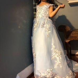 Dresses - Dress for girl silver and blue light